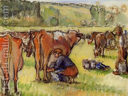 Milking Cows by Camille Pissarro - Reproduction Oil Painting