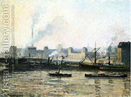 The Saint Sever Bridge at Rouen, Fog by Camille Pissarro - Reproduction Oil Painting
