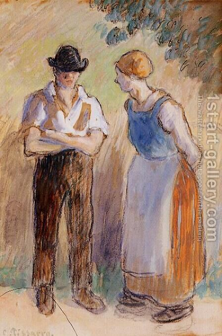 Two Peasants by Camille Pissarro - Reproduction Oil Painting