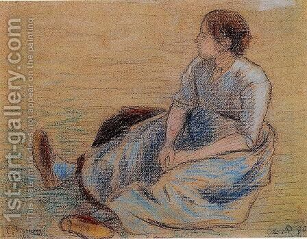 Woman Sitting on the Floor by Camille Pissarro - Reproduction Oil Painting