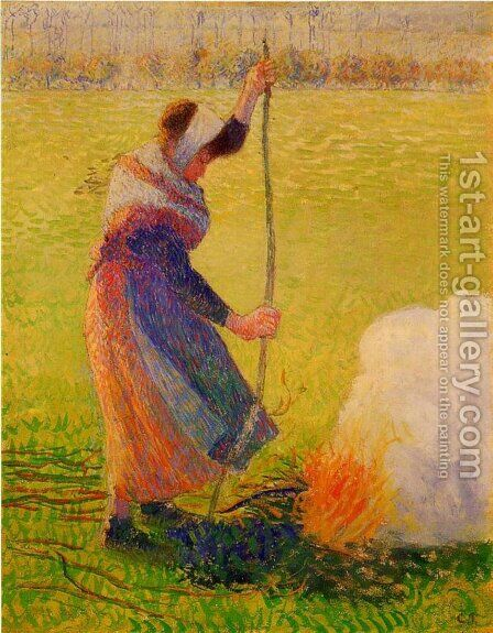 Woman Burning Wood by Camille Pissarro - Reproduction Oil Painting