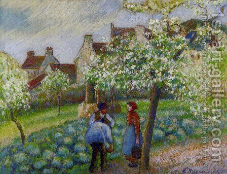Flowering Plum Trees by Camille Pissarro - Reproduction Oil Painting