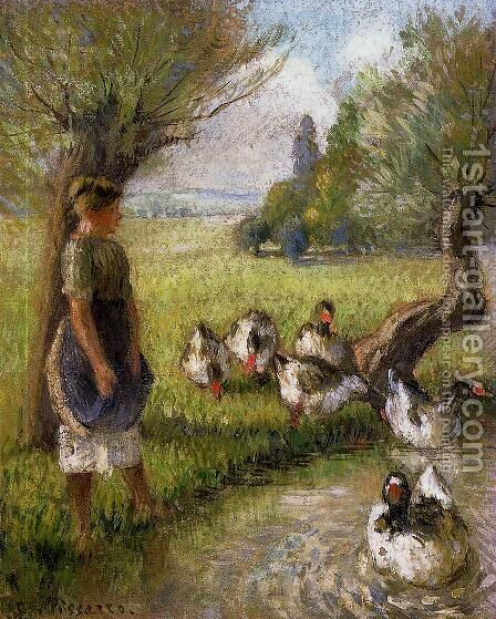 Goose Girl by Camille Pissarro - Reproduction Oil Painting