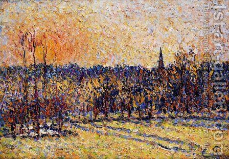 Sunset, Bazincourt Steeple by Camille Pissarro - Reproduction Oil Painting