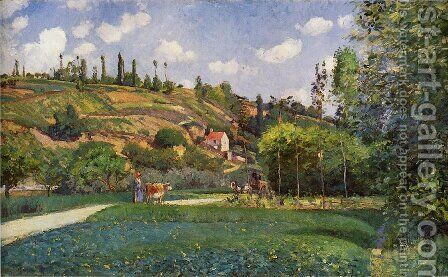 A Cowherd on the Route de Chou, Pontoise by Camille Pissarro - Reproduction Oil Painting