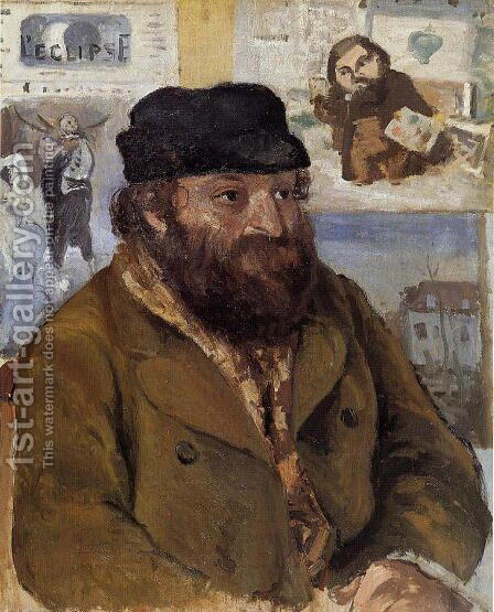 Portrait of Paul Cezanne by Camille Pissarro - Reproduction Oil Painting