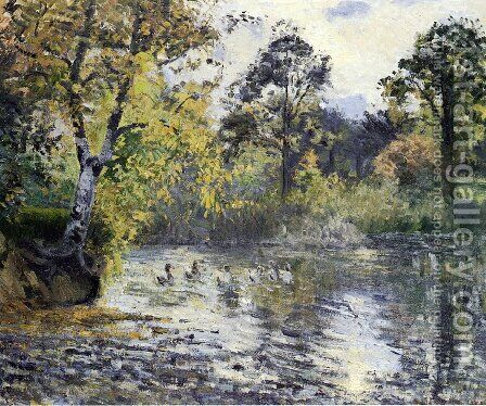 The Pond at Montfoucault by Camille Pissarro - Reproduction Oil Painting