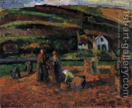 The Potato Harvest by Camille Pissarro - Reproduction Oil Painting