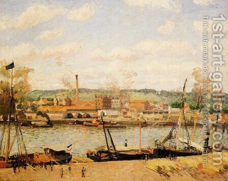 View of the Cotton Mill at Oissel, near Rouen by Camille Pissarro - Reproduction Oil Painting