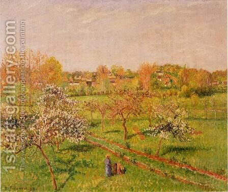Morning, Flowering Apple Trees, Eragny by Camille Pissarro - Reproduction Oil Painting