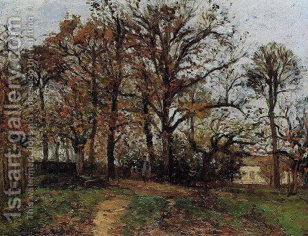 Trees on a Hill, Autumn, Landscape in Louveciennes by Camille Pissarro - Reproduction Oil Painting