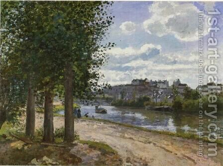 Banks of the Oise by Camille Pissarro - Reproduction Oil Painting