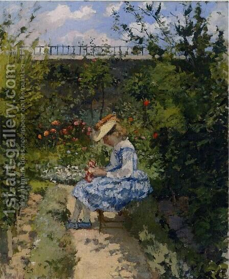 Jeanne in the Garden, Pontoise by Camille Pissarro - Reproduction Oil Painting