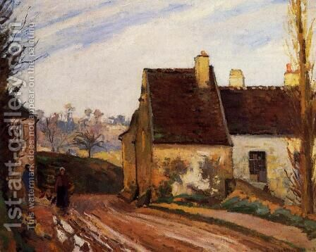 Homes near the Osny by Camille Pissarro - Reproduction Oil Painting