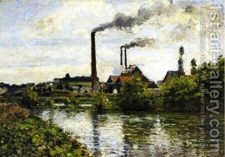 The Factory at Pontoise by Camille Pissarro - Reproduction Oil Painting