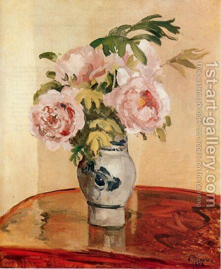Pink Peonies by Camille Pissarro - Reproduction Oil Painting