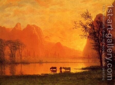 Sundown at Yosemite by Albert Bierstadt - Reproduction Oil Painting