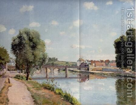 The Railroad Bridge at Pontoise by Camille Pissarro - Reproduction Oil Painting