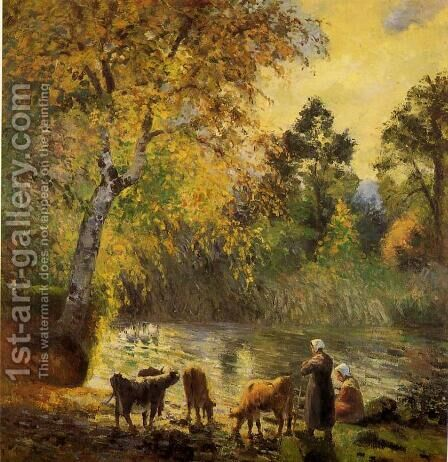 Autumn, Montfoucault Pond by Camille Pissarro - Reproduction Oil Painting