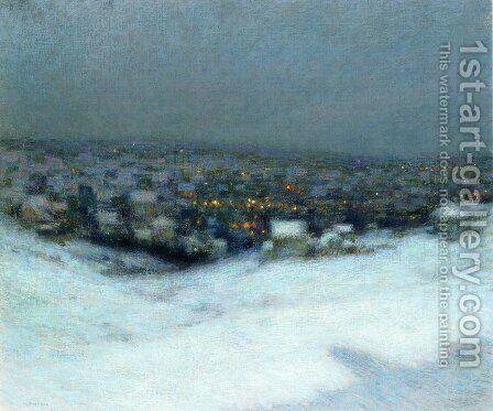 Snow in the Moonlight by Henri Eugene Augustin Le Sidaner - Reproduction Oil Painting