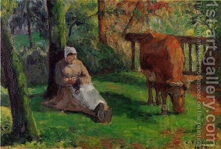 The Cowherd by Camille Pissarro - Reproduction Oil Painting