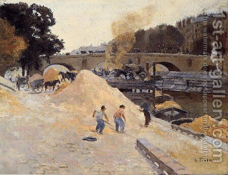 The Banks of the Seine in Paris, Pont Marie, Quai d'Anjou by Camille Pissarro - Reproduction Oil Painting