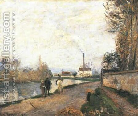 The Oise at Pontoise in Bad Weather by Camille Pissarro - Reproduction Oil Painting