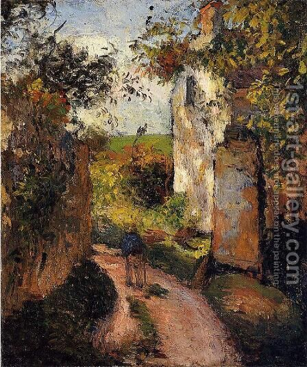 A Peasant in the Lane at l'Hermitage, Pontoise by Camille Pissarro - Reproduction Oil Painting