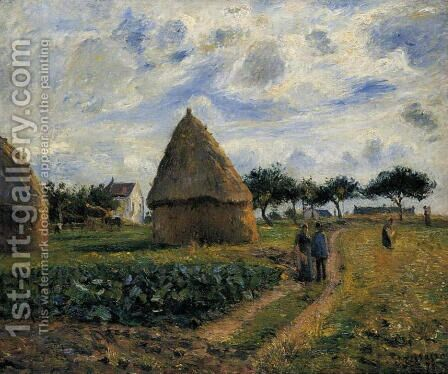 Peasants and Hay Stacks by Camille Pissarro - Reproduction Oil Painting