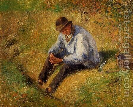 Pere Melon Resting by Camille Pissarro - Reproduction Oil Painting