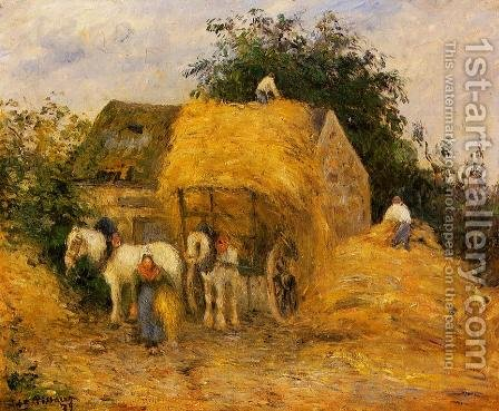 The Hay Wagon, Montfoucault by Camille Pissarro - Reproduction Oil Painting