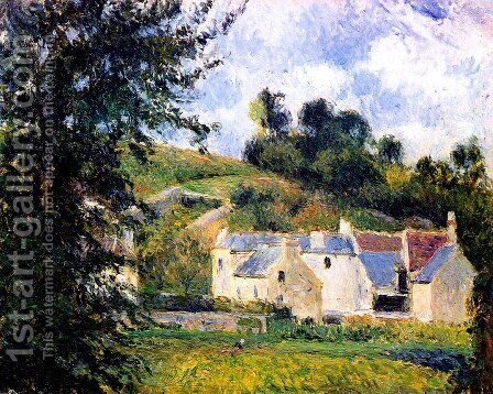 Houses of l'Hermitage, Pontoise by Camille Pissarro - Reproduction Oil Painting