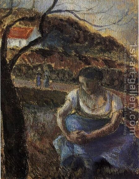 Seated Peasant Woman by Camille Pissarro - Reproduction Oil Painting