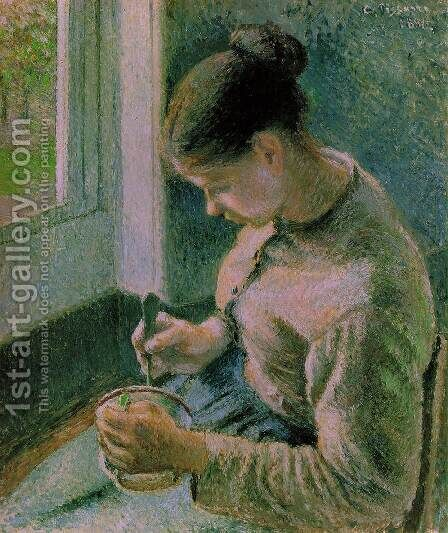 Breakfast, Young Peasant Woman Taking Her Coffee by Camille Pissarro - Reproduction Oil Painting