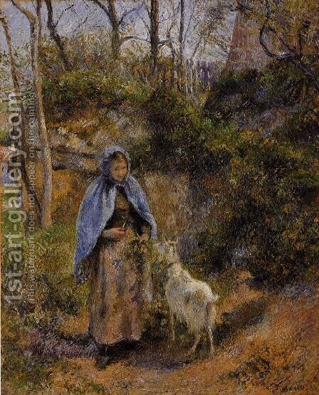 Peasant Woman with a Goat by Camille Pissarro - Reproduction Oil Painting