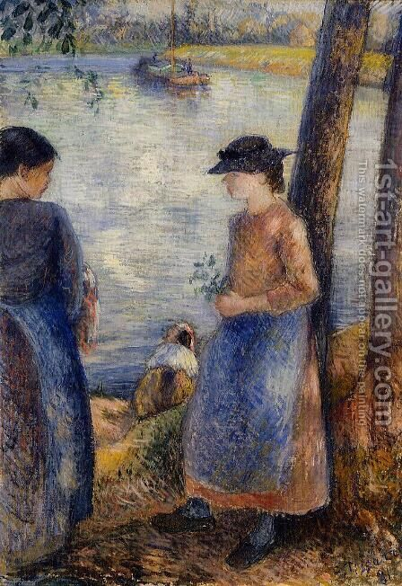 By the Water by Camille Pissarro - Reproduction Oil Painting