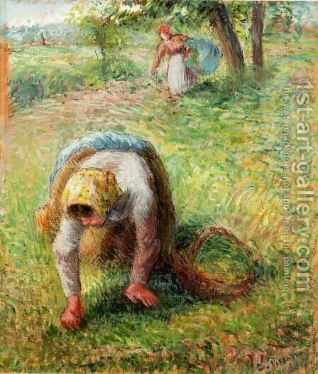 Peasants Gathering Grass by Camille Pissarro - Reproduction Oil Painting