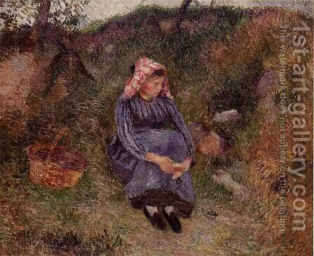 Seated Peasant Woman I by Camille Pissarro - Reproduction Oil Painting