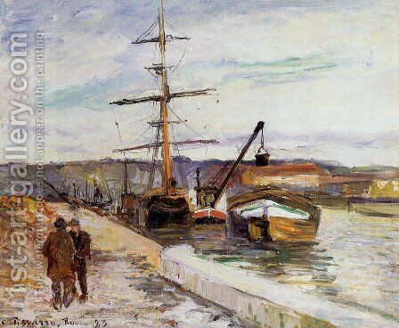The Port of Rouen by Camille Pissarro - Reproduction Oil Painting