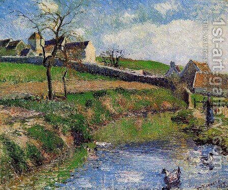 View of a Farm in Osny by Camille Pissarro - Reproduction Oil Painting