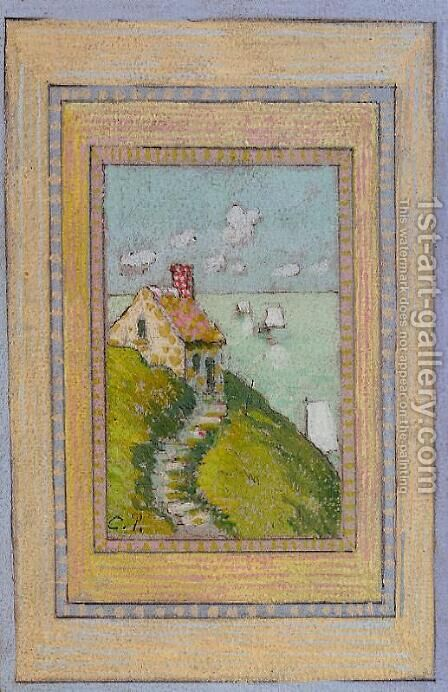 House on a Cliff by Camille Pissarro - Reproduction Oil Painting