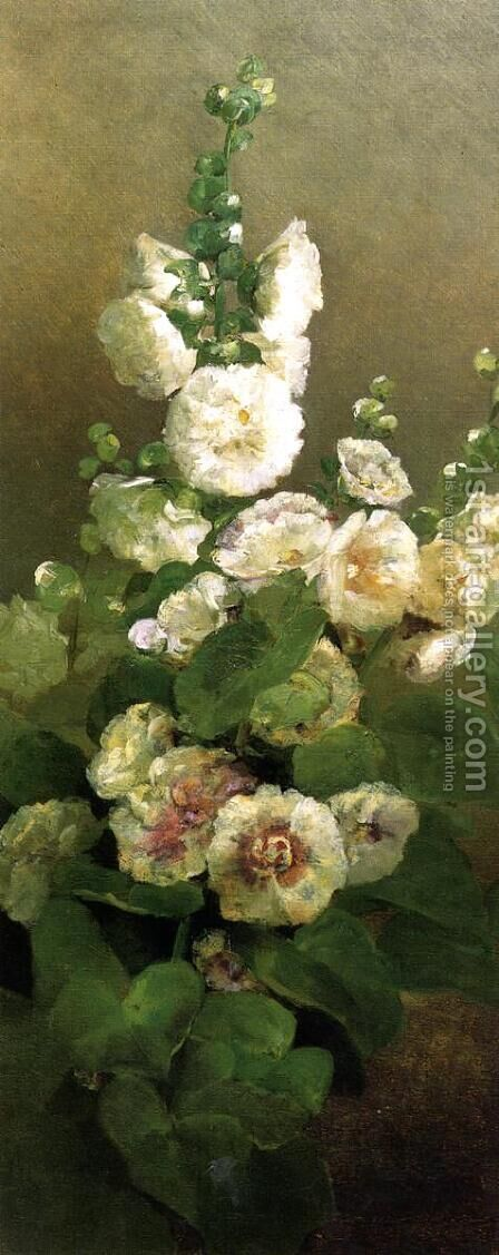 Hollyhocks by Charles Ethan Porter - Reproduction Oil Painting