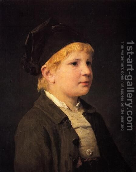 Portrait of a Young Boy by Albert Anker - Reproduction Oil Painting