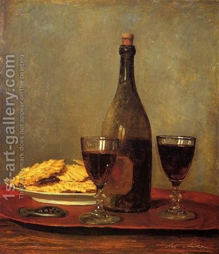 Still Life: Two Glass of Red Wine, a Bottle of Wine; a Corkscrew and a Plate of Biscuits on a Tray by Albert Anker - Reproduction Oil Painting