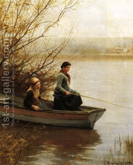 Fishing by Daniel Ridgway Knight - Reproduction Oil Painting