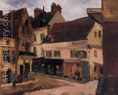 A Square in La Roche-Guyon by Camille Pissarro - Reproduction Oil Painting