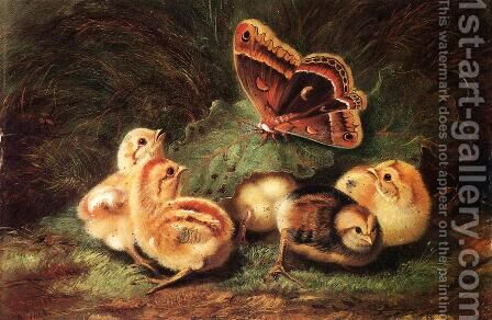 Young Chickens by Arthur Fitzwilliam Tait - Reproduction Oil Painting