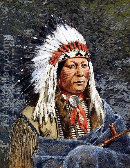 Sioux Chief by Henry Farny - Reproduction Oil Painting