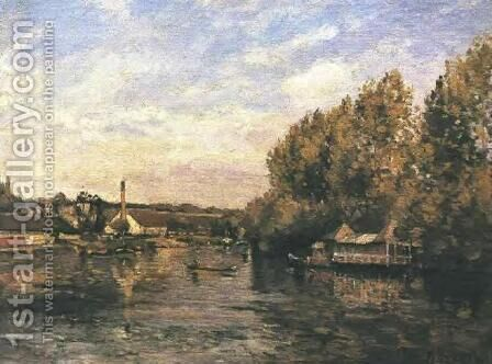 Le Grenouillere at Bougival by Camille Pissarro - Reproduction Oil Painting