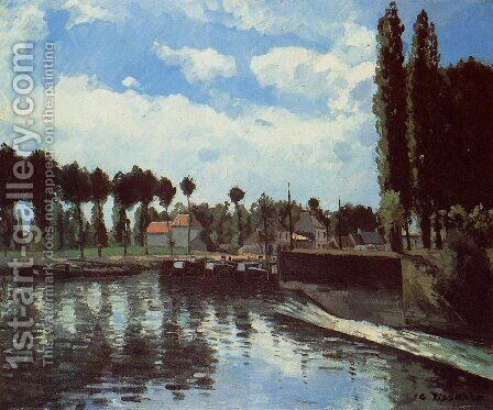 The Lock at Pontoise by Camille Pissarro - Reproduction Oil Painting